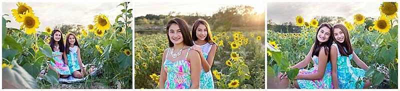 sisters, sunset, sunflowers